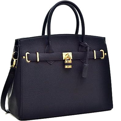 Amazon.com: Dasein Faux Leather Padlock Structured Briefcase ...