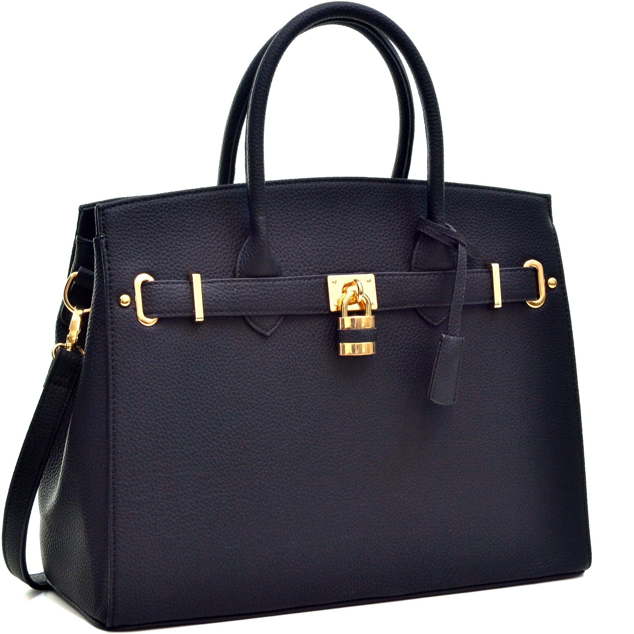 MMK Collection Fashion Women Padlock Handbag ~Signature fashion Designer Women Satchel Purse Black & Brown (black)