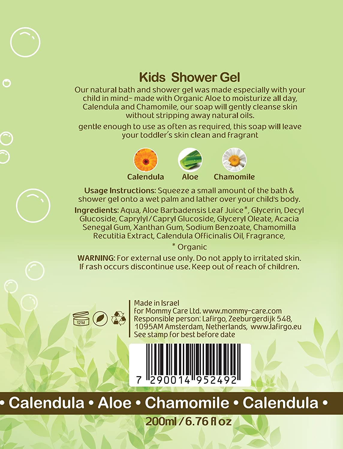 Mommy Care Baby Bath Time Shower Gel Soap Certified Organic 6.76 fl.oz Natural Children Body Wash for Dry Skin Great for Eczema and Newborns Sensitive Skin 200ml