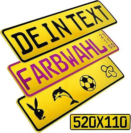 L P Car Design Fkz 1 Stück Fun Kennzeichen 52cm X 11cm Wunschtext Bohrung Beschichtungsfarbe Individuell Wunschkennzeichen Wunschprägung Namenskennzeichen Namensschild Farbe Gelb Auto