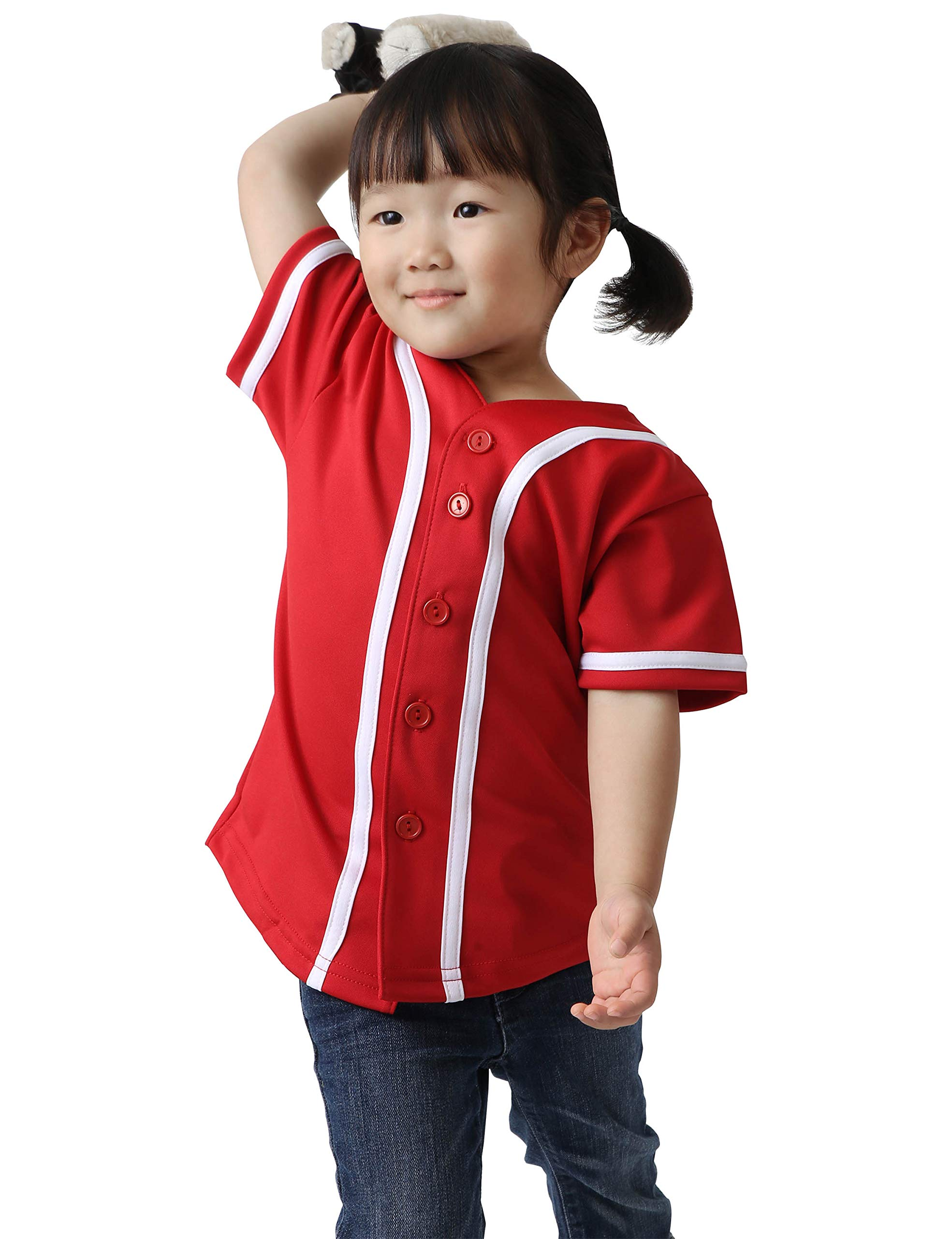 Ma Croix Kids Premium Baseball Jersey Active Button Shirt Team Uniform Little League (2 Toddler, 5up01_red.WHI) by Ma Croix