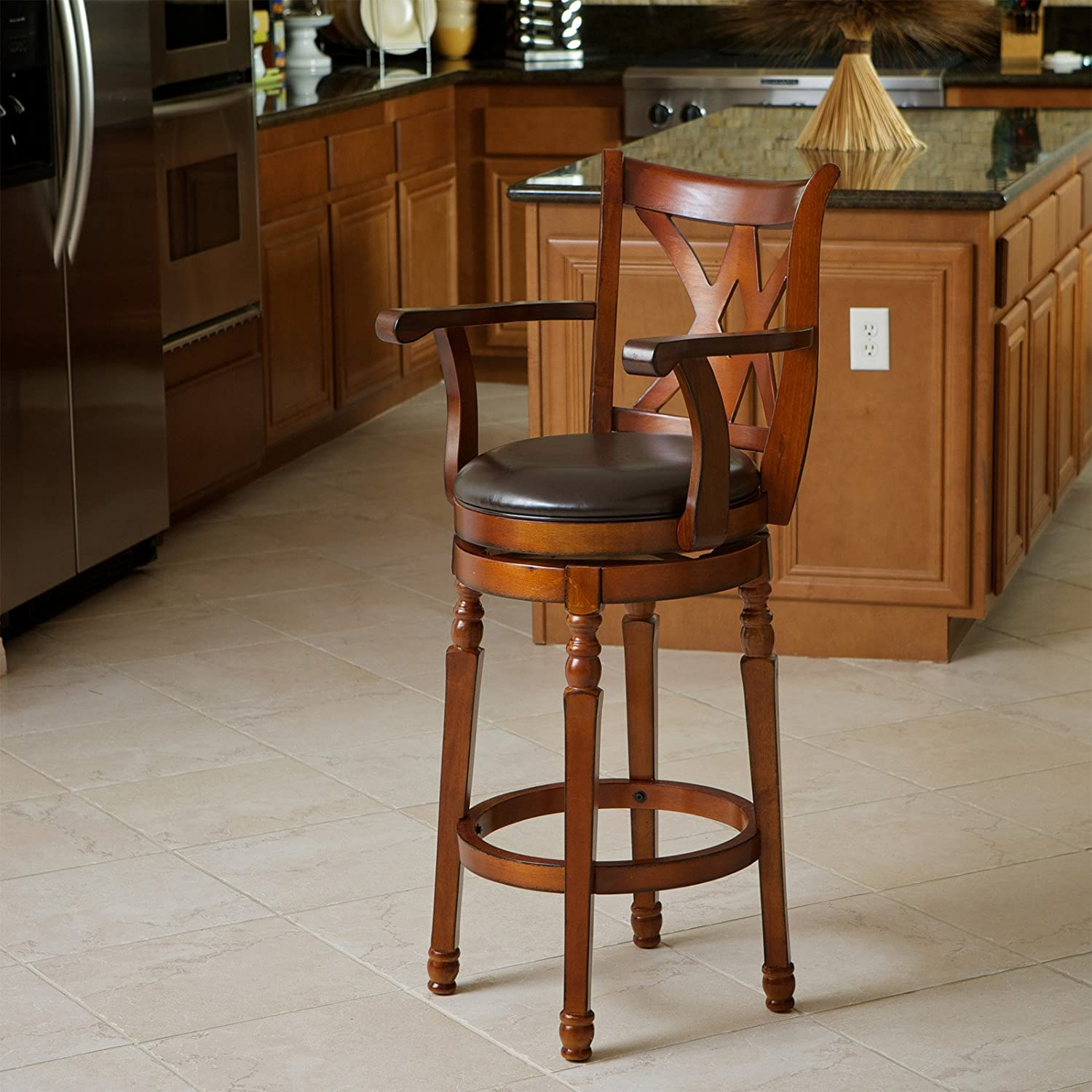 Amazon.com: Best Selling Eclipse Armed Swivel Bar Stool, Brown: Kitchen U0026  Dining