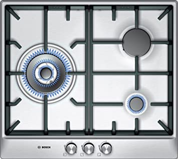 Bosch PCC615B90E hobs - Placa (Incorporado, Gas, Plata, Giratorio, 58.2 cm