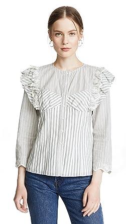 0906d13d928515 Amazon.com  Rebecca Taylor Women s Long Sleeve Stripe Eyelet Top ...
