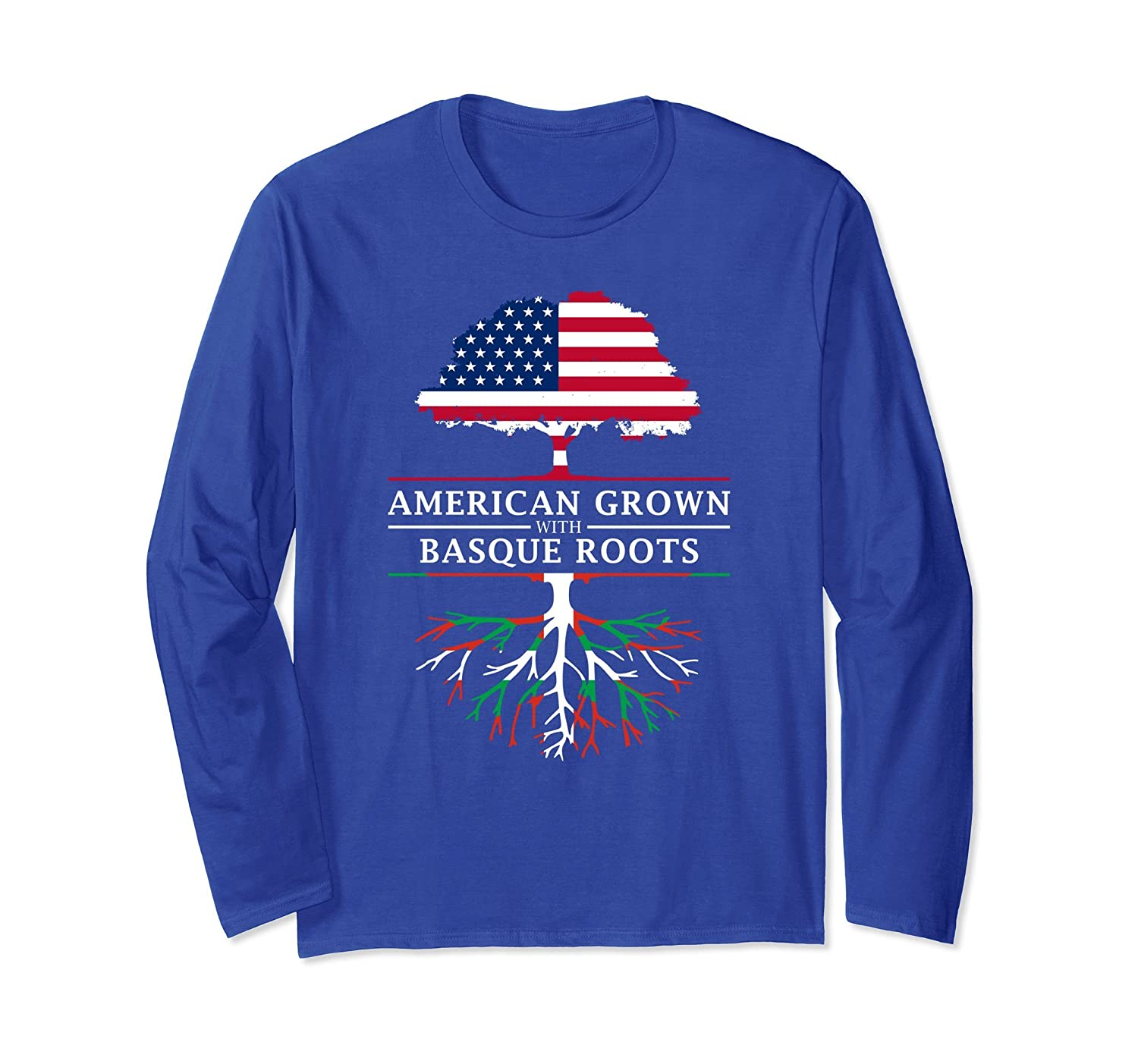 American Grown with Basque Roots Long Sleeve T-Shirt-TH