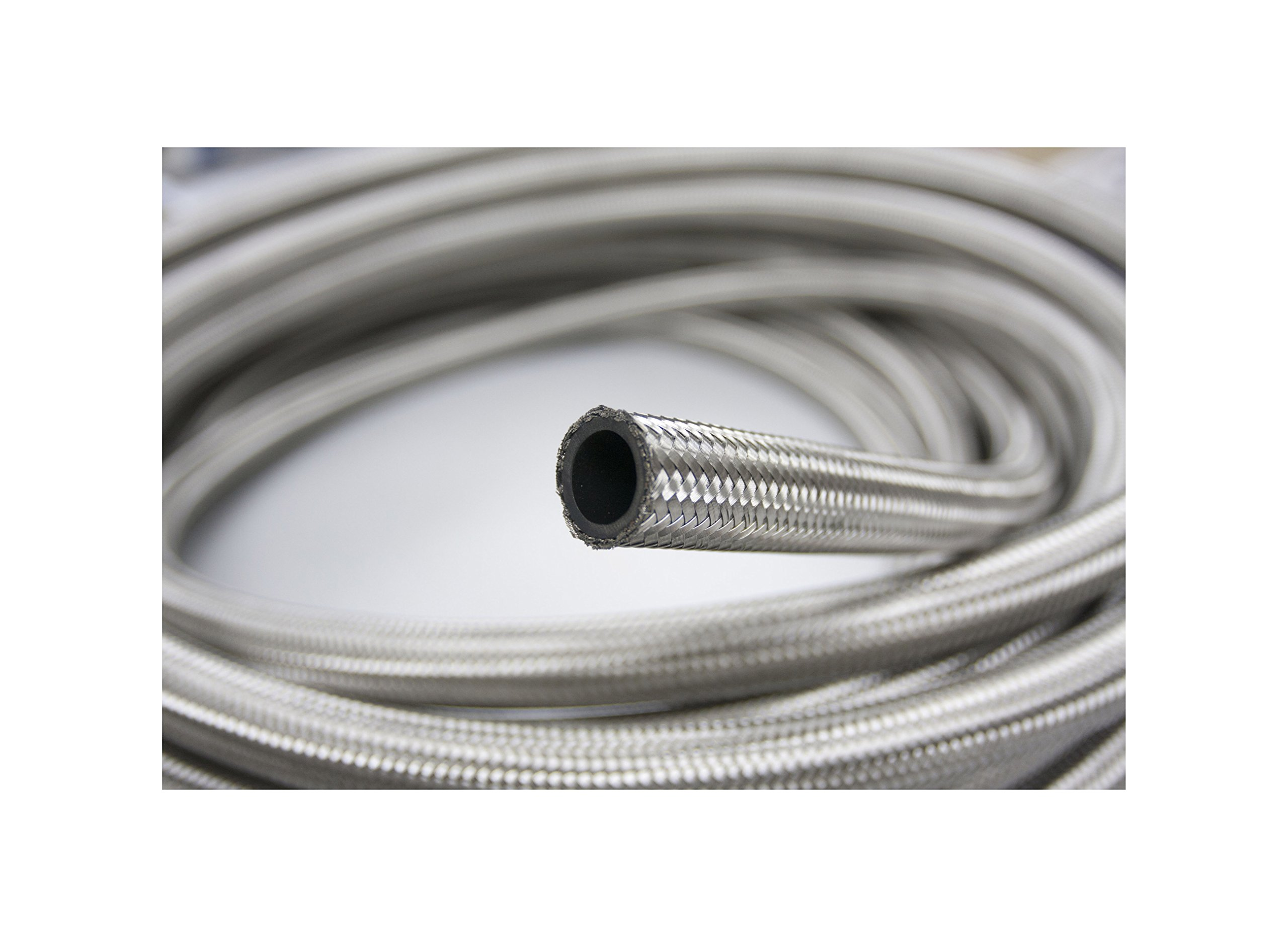 Autobahn88 Synthetic Rubber Hose with High Tensile Stainless Steel Braided (Double Layer) for Fluids : Oil, Water, Coolant, Methanol. Silver. (-20AN, 10 Feet)