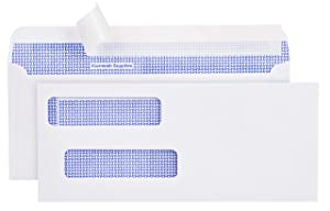 550 Double Window Security Tinted Check Envelopes - Compatible for QuickBooks Checks - Computer Checks - Laser Checks - 3 5/8 X 8 11/16 - Made in USA - Premium Storage Box - [NOT FOR INVOICES]