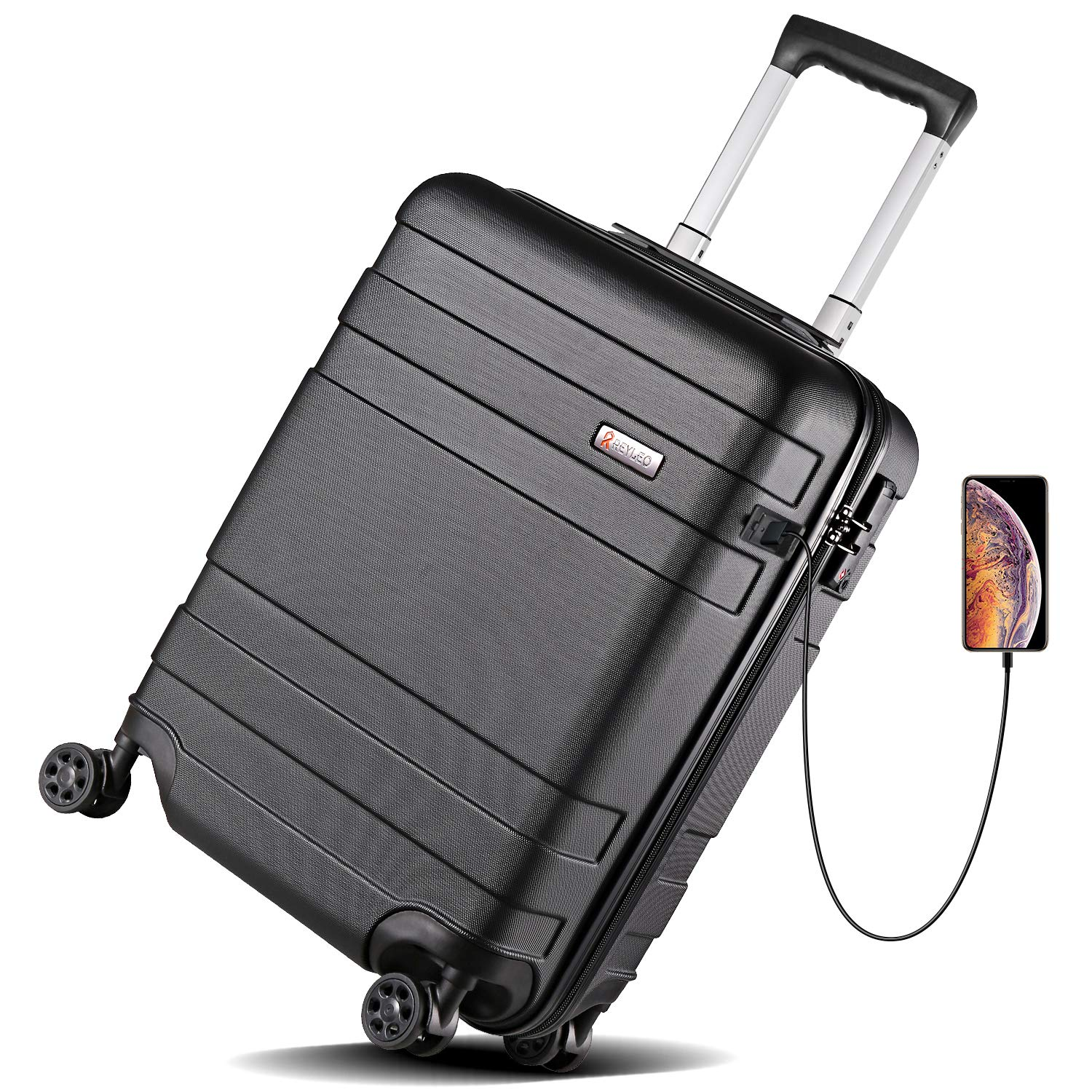 REYLEO Hardside Luggage 21 Inch Carry On Luggage 4-level Handle Travel Suitcase with Two USB Charging Port 8 Silent Spinner Wheels Built-in TSA Lock, LUG20C best spinner luggage