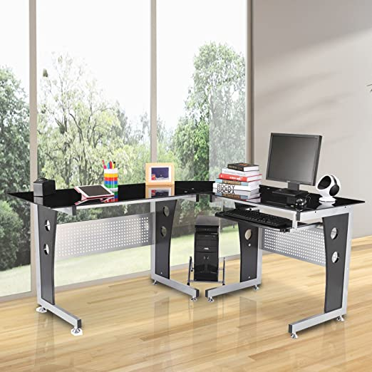 Amazon Com Tidyard L Shaped Corner Computer Desk Gaming Table