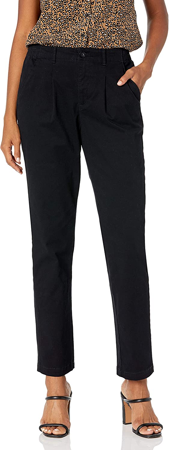 Gloria Vanderbilt Women's Rear Elastic High Waist Pleated Chino Pants
