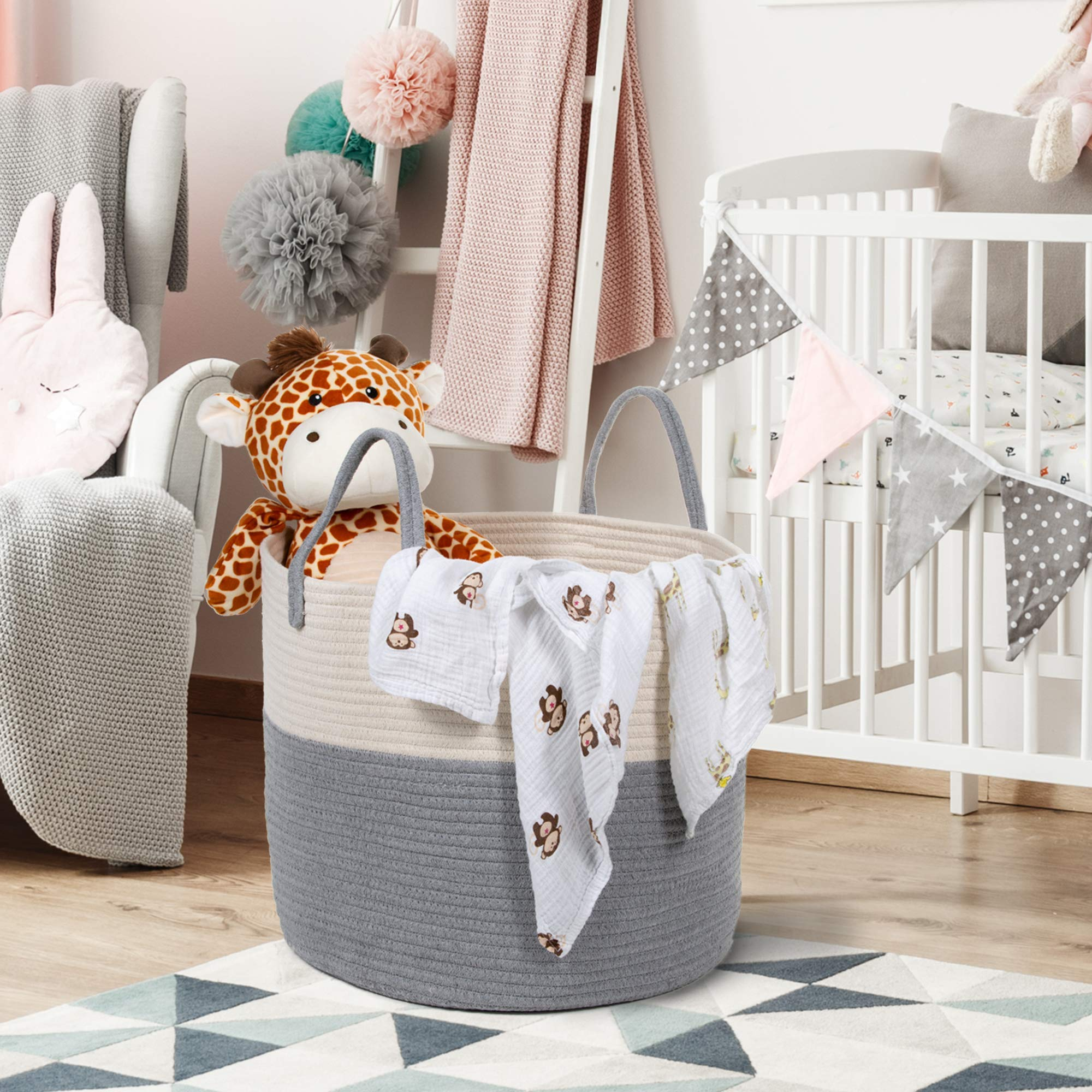Extra Large Cotton Rope Basket 17 x 14.7 with Handles, for Baby Laundry Basket Woven Blanket Basket Nursery Bin by YOONLIVING (Image #7)