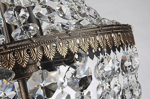Edvivi 6-Light Antique Bronze Crystal Empire Chandelier Pendant Ceiling Fixture Glam Lighting