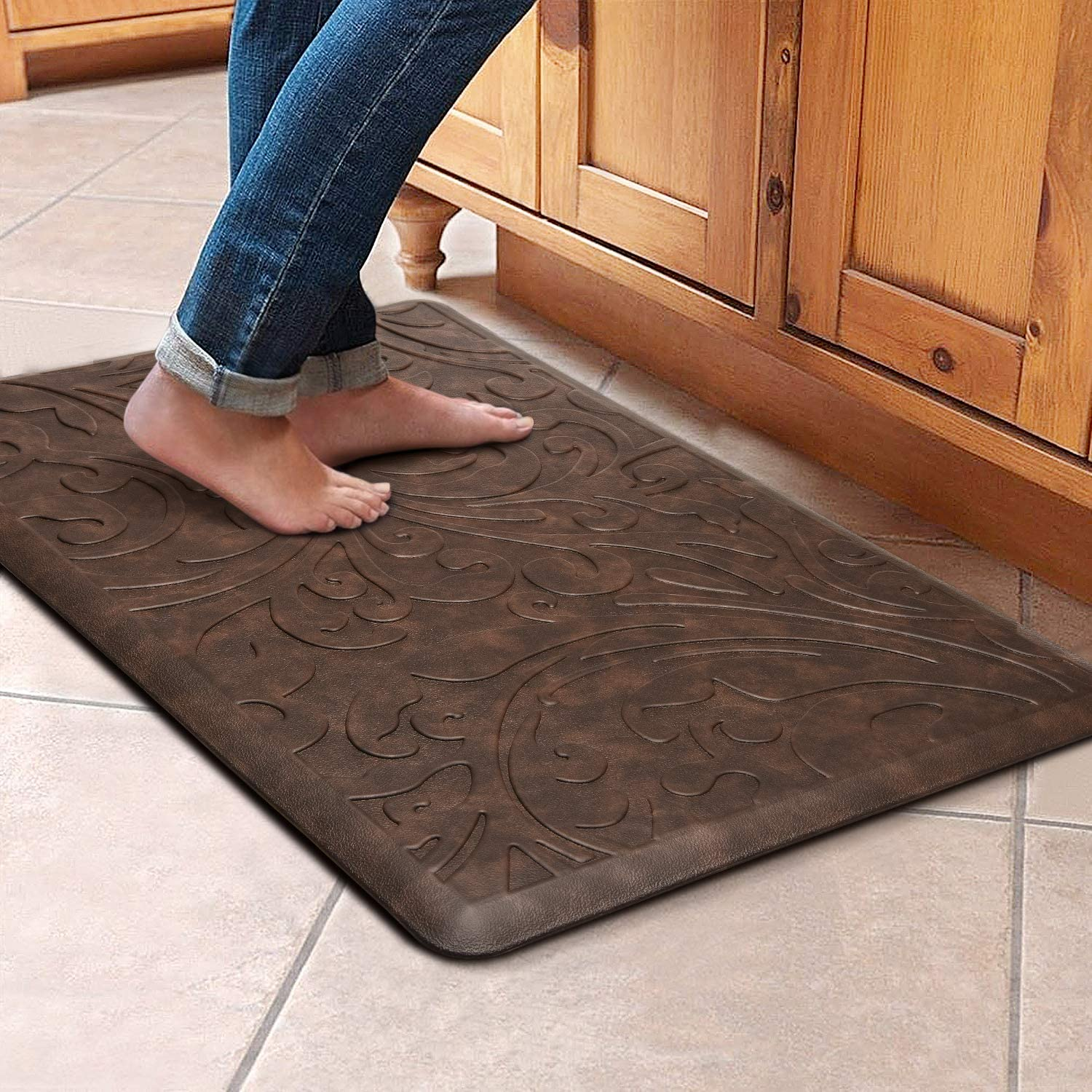 "KMAT Kitchen Mat Cushioned Anti-Fatigue Floor Mat Waterproof Non-Slip Standing Mat Ergonomic Comfort Floor Mat Rug for Home,Office,Sink,Laundry,Desk 17.3"" (W) x 28""(L),Brown"