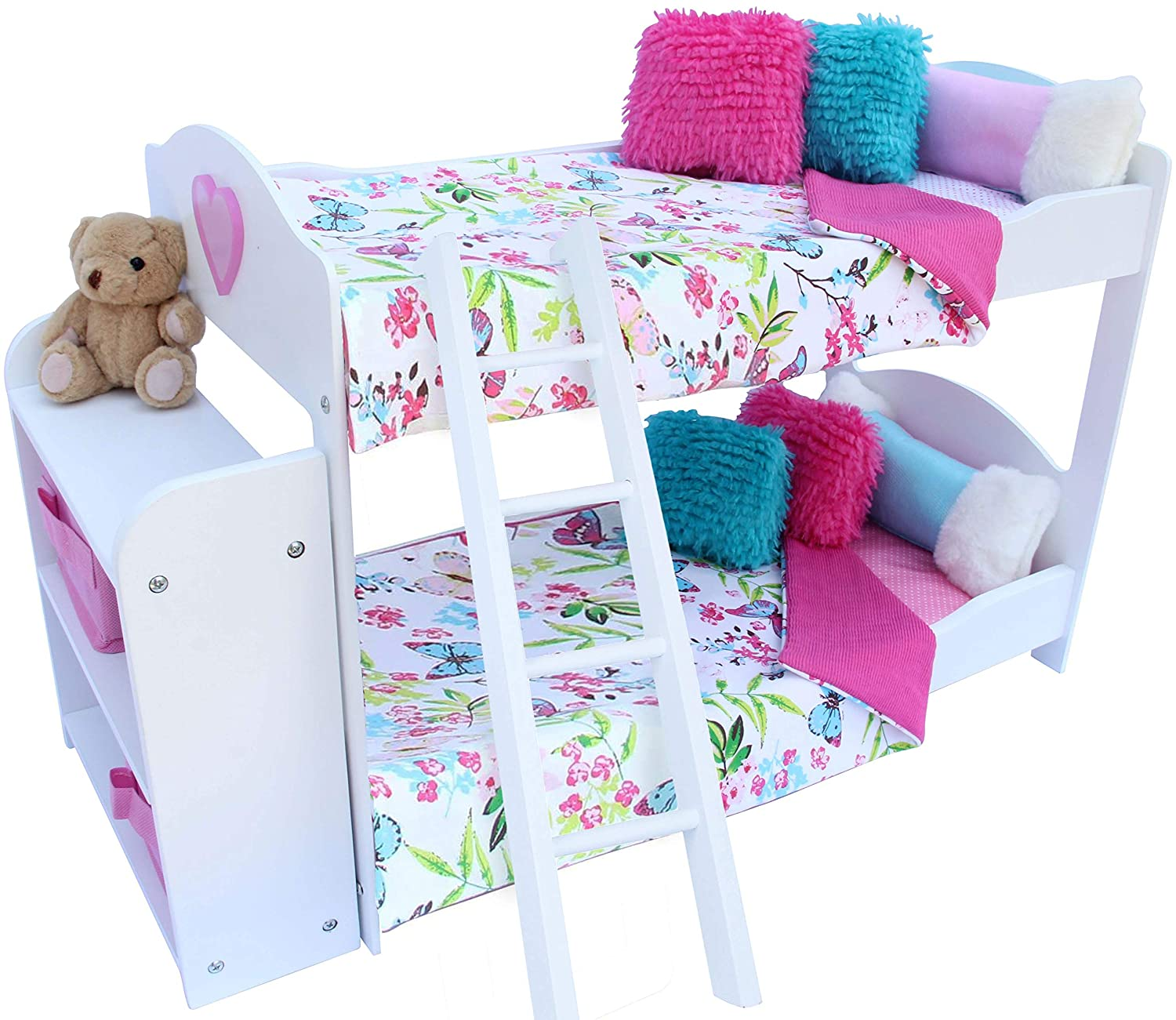Furniture Compatible With American Girl Doll Furniture And Accessories Pzas Toys Doll Bunk Bed Teddy Bear Doll Bunk Bed For 18 Inch Dolls Complete With Linens And Shelves Pajamas Toys Games