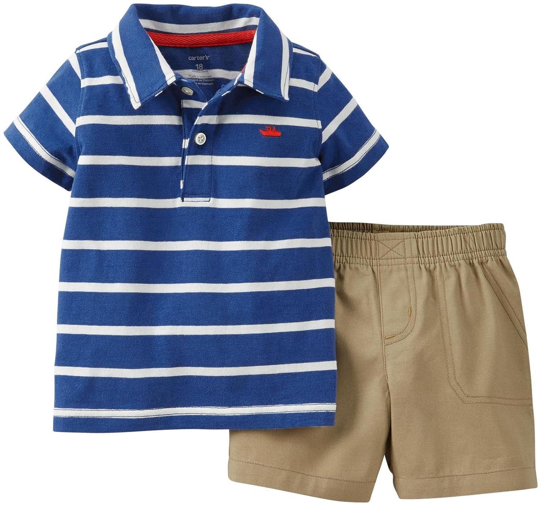 Amazon Com Carter S Baby Boy Striped Polo Shirt Shorts Set 18