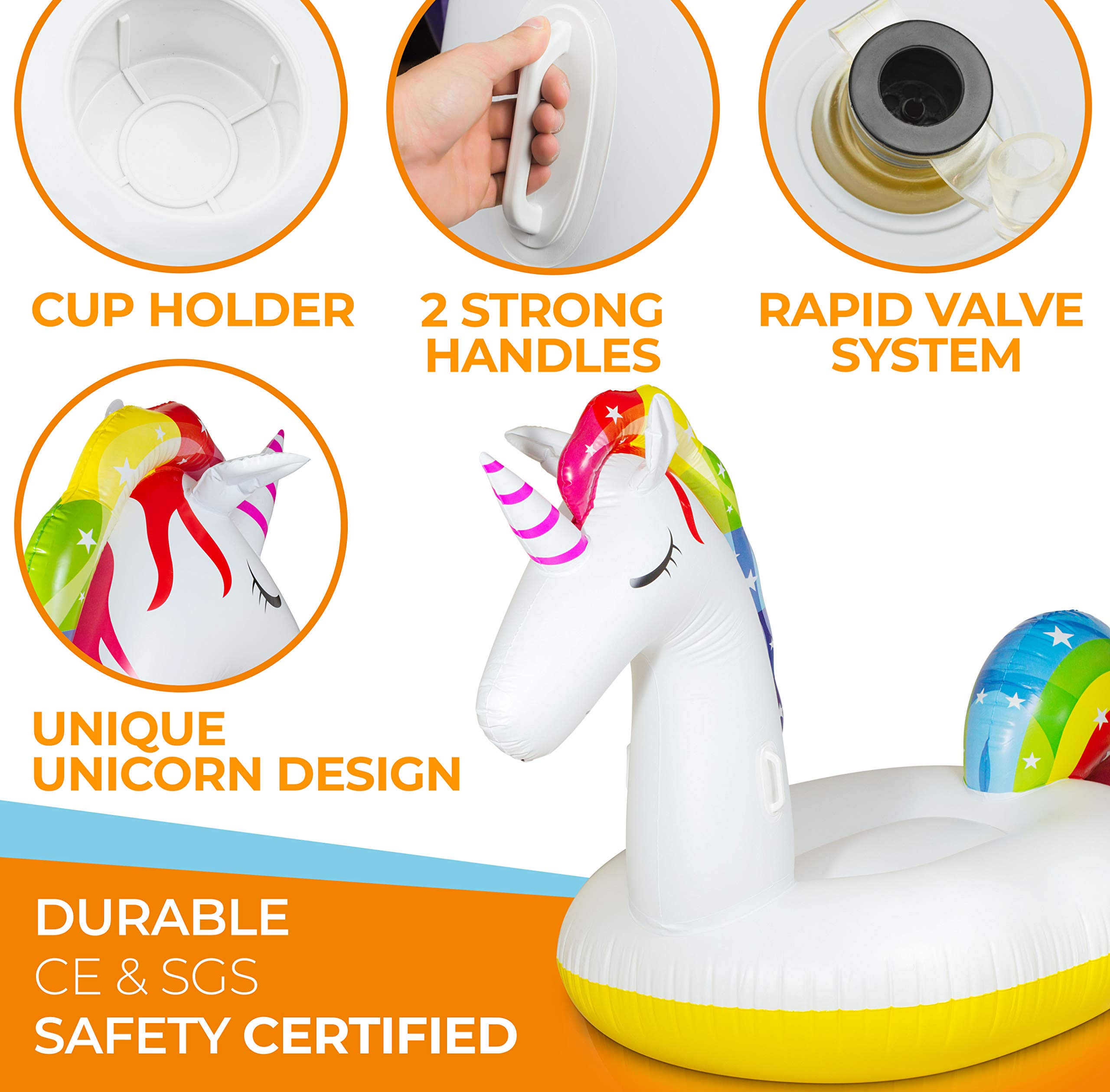 Giant Inflatable Unicorn Pool Float – Rapid Inflate and Deflate, Cup Holder, Safety Grab Handles, CE and SGS Certified… 8