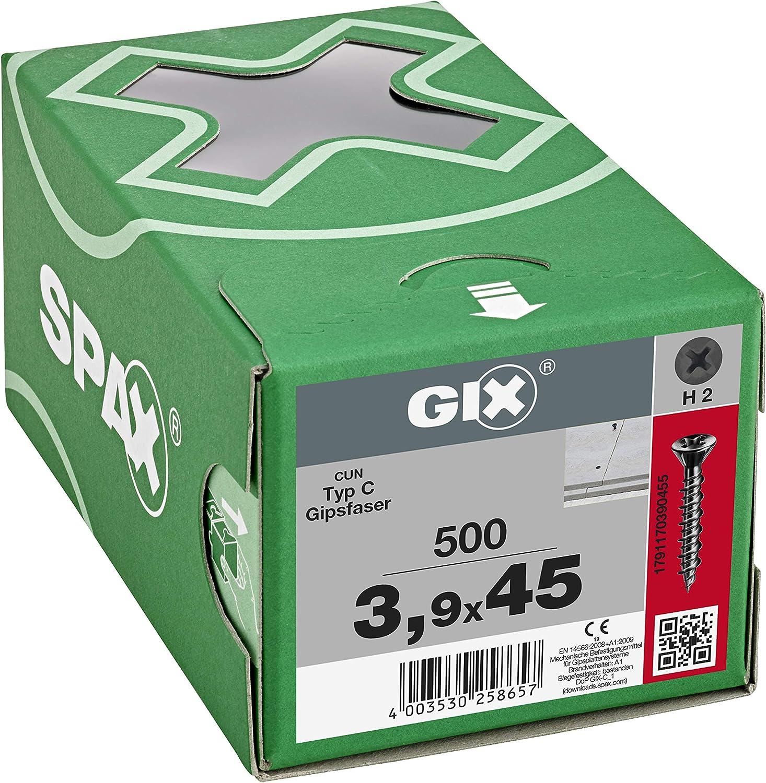 Tornillos de montaje r/ápido SPAX 1791170390455 GIX-C color negro