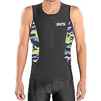 SLS3 Triathlon Men`s Tri Top FRT | Tight Fit Tri Jersey Shirt | 2 Pockets | Zipper | Jersey | Singlet | German Designed