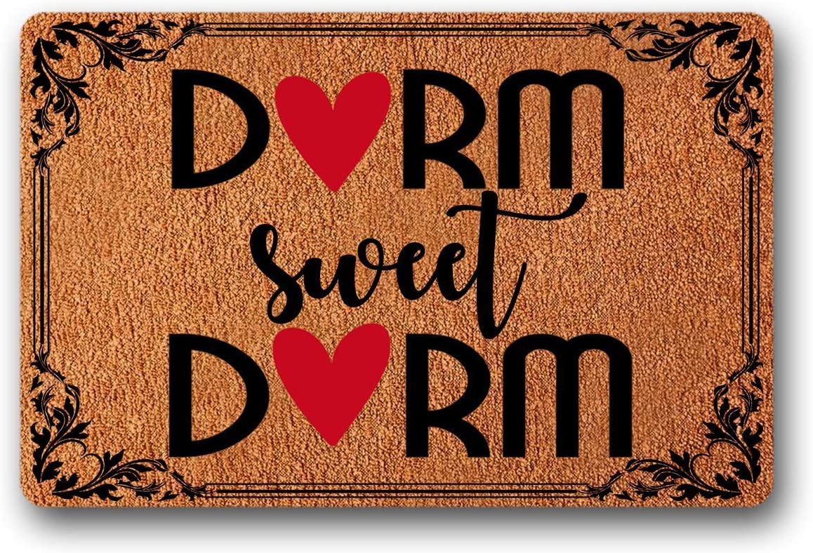 Bernie Gresham Entrance Floor Mat Funny Doormat Dorm Sweet Dorm Door mat Decorative Indoor Outdoor Doormat Non-Woven Fabric Top 23.6 x15.7