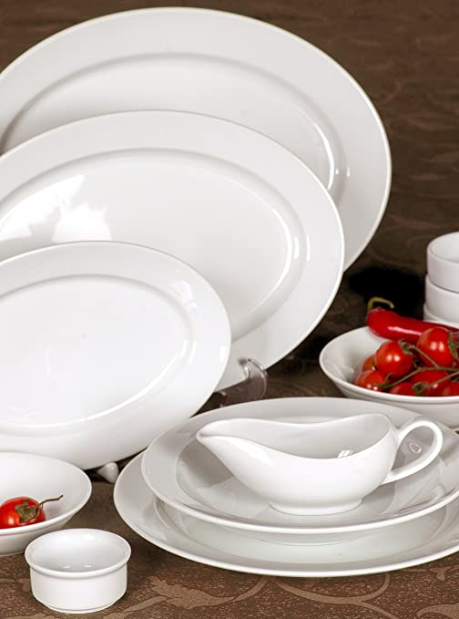 Ovalada porcelana platos/platos, restaurante y Hotel calidad, porcelana, blanco, 14.1 x 9.8: Amazon.es: Hogar