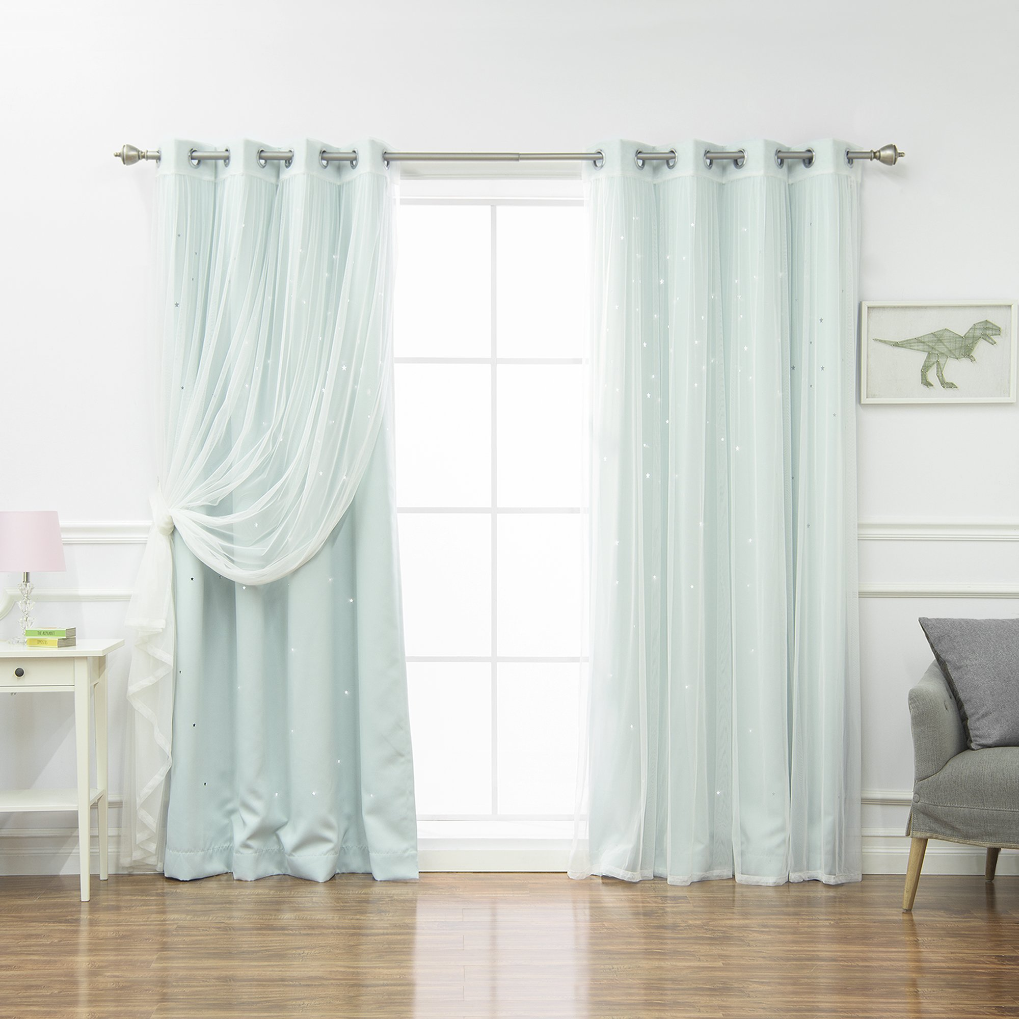 Best Home Fashion Mix & Match Tulle & Star Cut Out Blackout Curtains - Mint - 52''W x 84''L - (2 Curtains and 2 Sheer curtains)