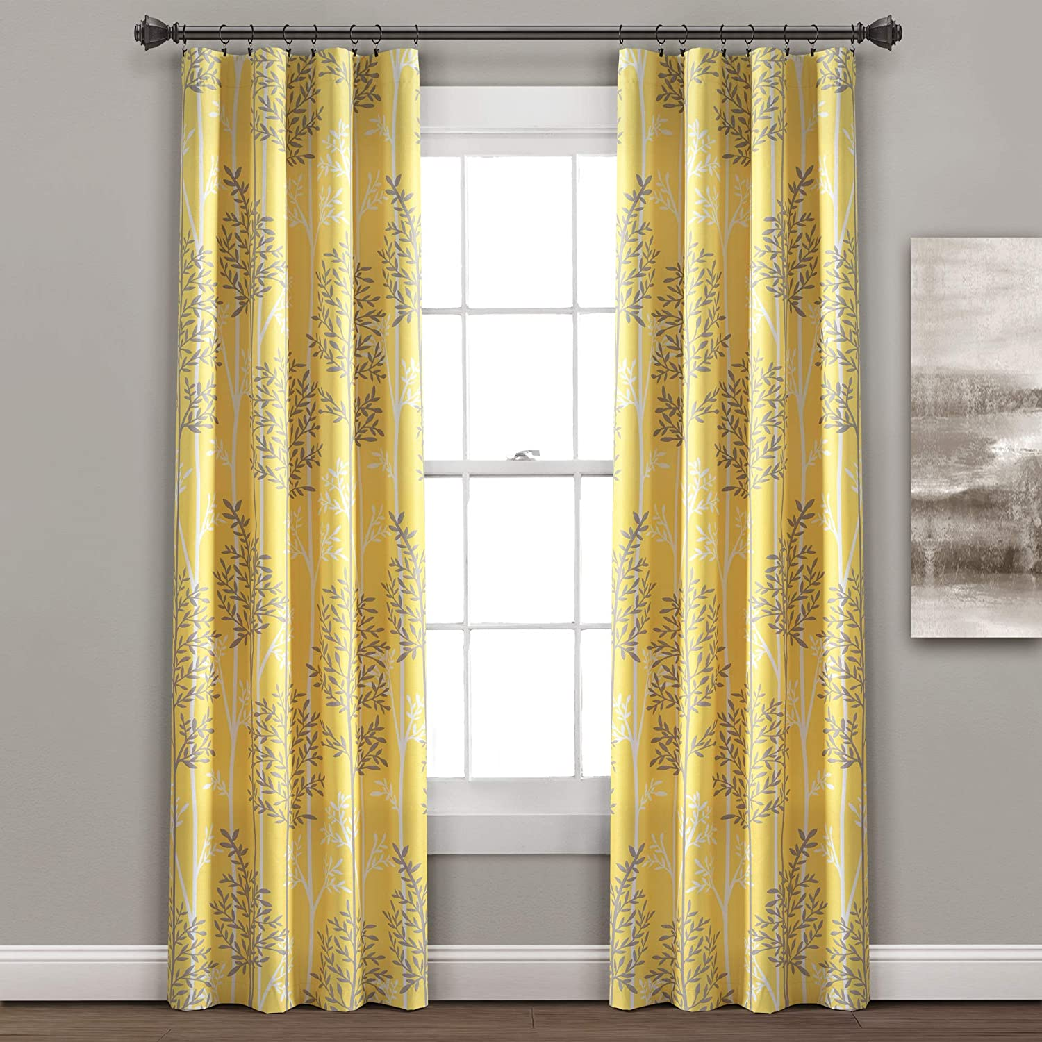 "Lush Decor Yellow and Gray Linear Tree Blackout Grommet Window Curtain Panel Pair (84"" x 38""), Yellow & Gray"