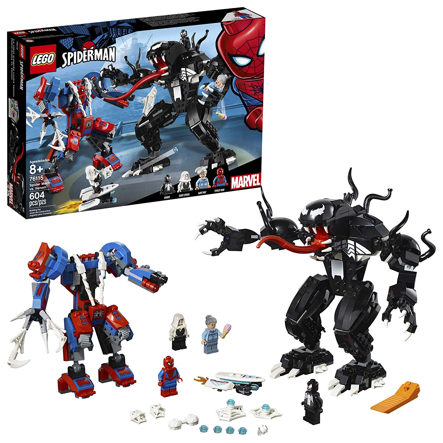 LEGO Marvel Spider-Man: Spider Mech vs. Venom 76115 Building Kit (604 Piece) LEGO Superheroes 6251077