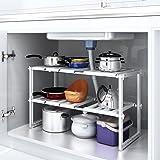 HOMFA Scaffale Stoviglie Estensibile 36(-66) × 26 × 38cm, Mensola Mobile Lunghezza Regolabile 2 Ripiani per Cucina Bagno Sotto Lavello, Expandable Under Sink Organizer