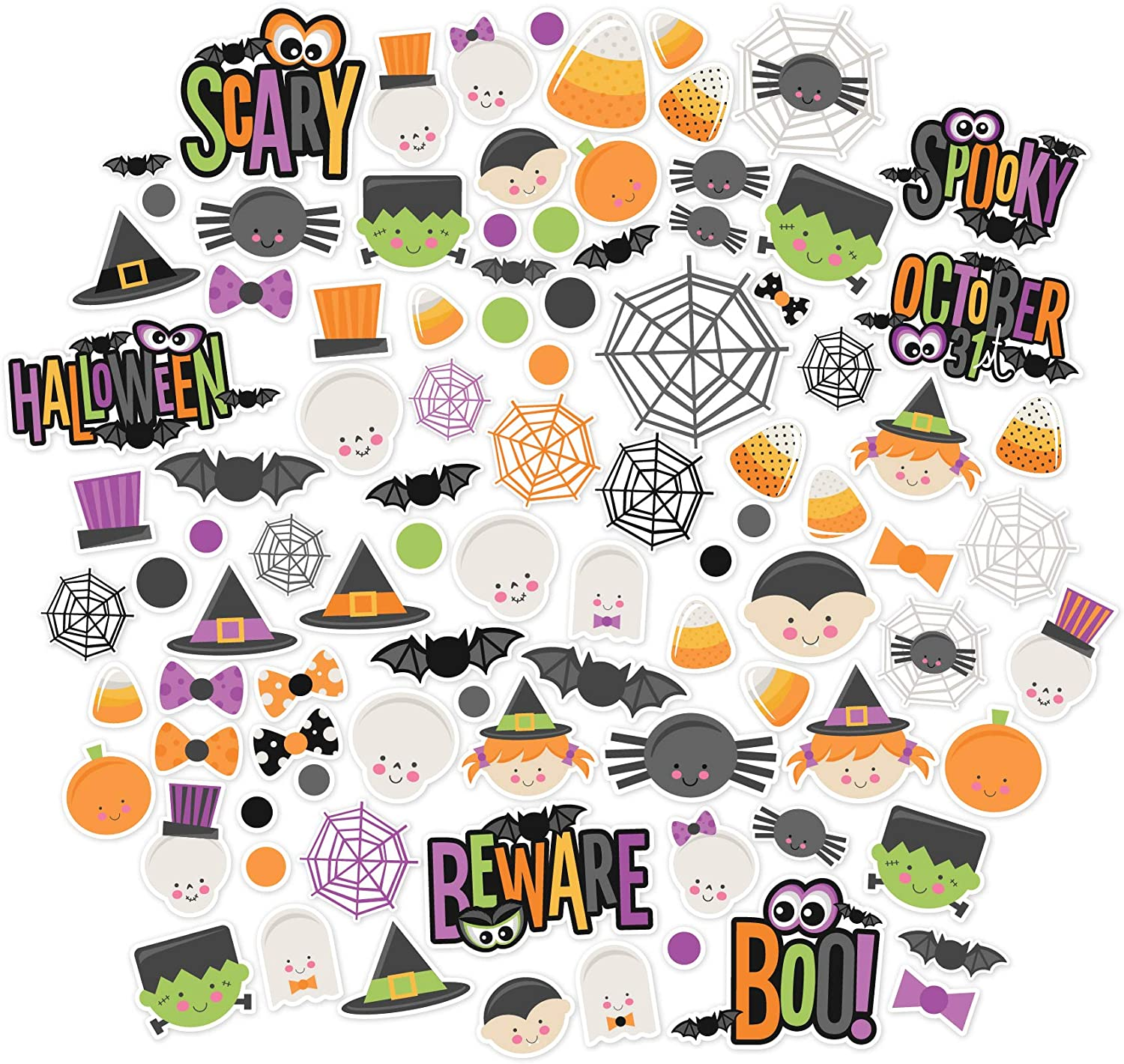Halloween words die cuts for cards or scrapbook 26 pieces