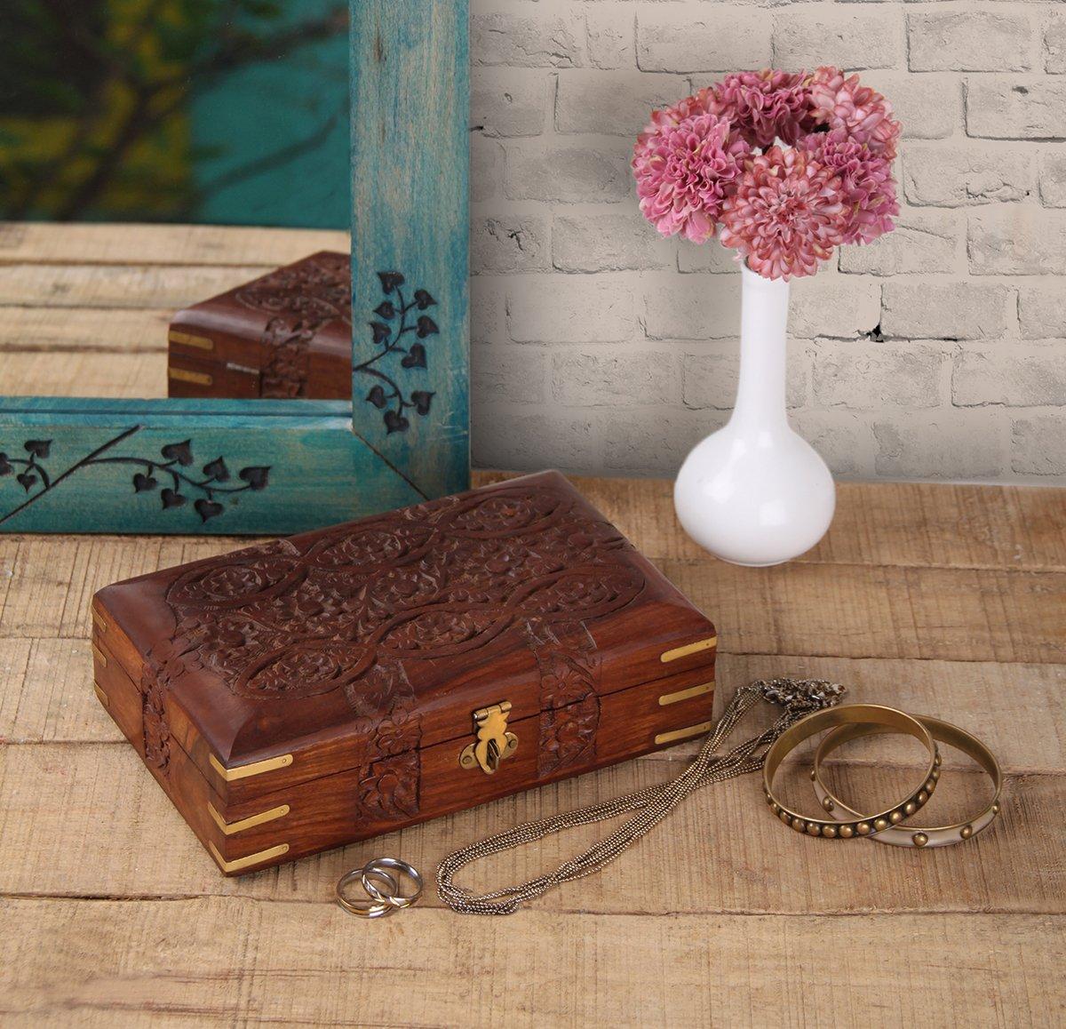 storeindya, Handmade Wooden Jewelry Box - Keepsake Box - Storage Organizer Multipurpose Box - Treasure Chest - Trinket Holder for Women Men Girls (Floral Divine Collection)