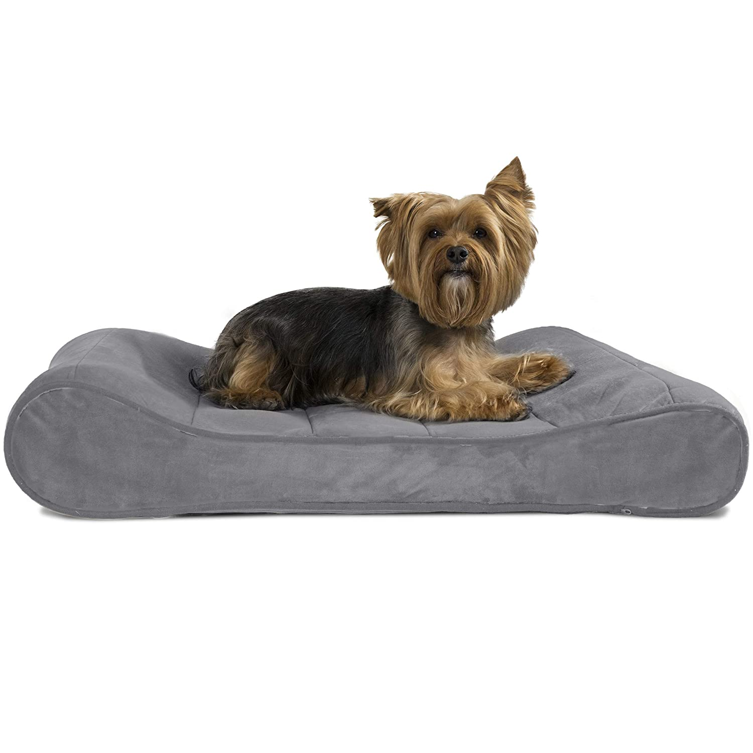 Furhaven Pet Dog Bed Orthopedic Micro Velvet Ergonomic Luxe Lounger Cradle Mattress Contour Pet Bed w Removable Cover for Dogs Cats – Available in Multiple Colors Styles