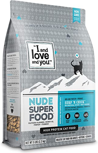 I and love and you Nude Dry Cat Food – Grain Free Limited Ingredient Kibble, 5-Pound Bag Variety of Flavors