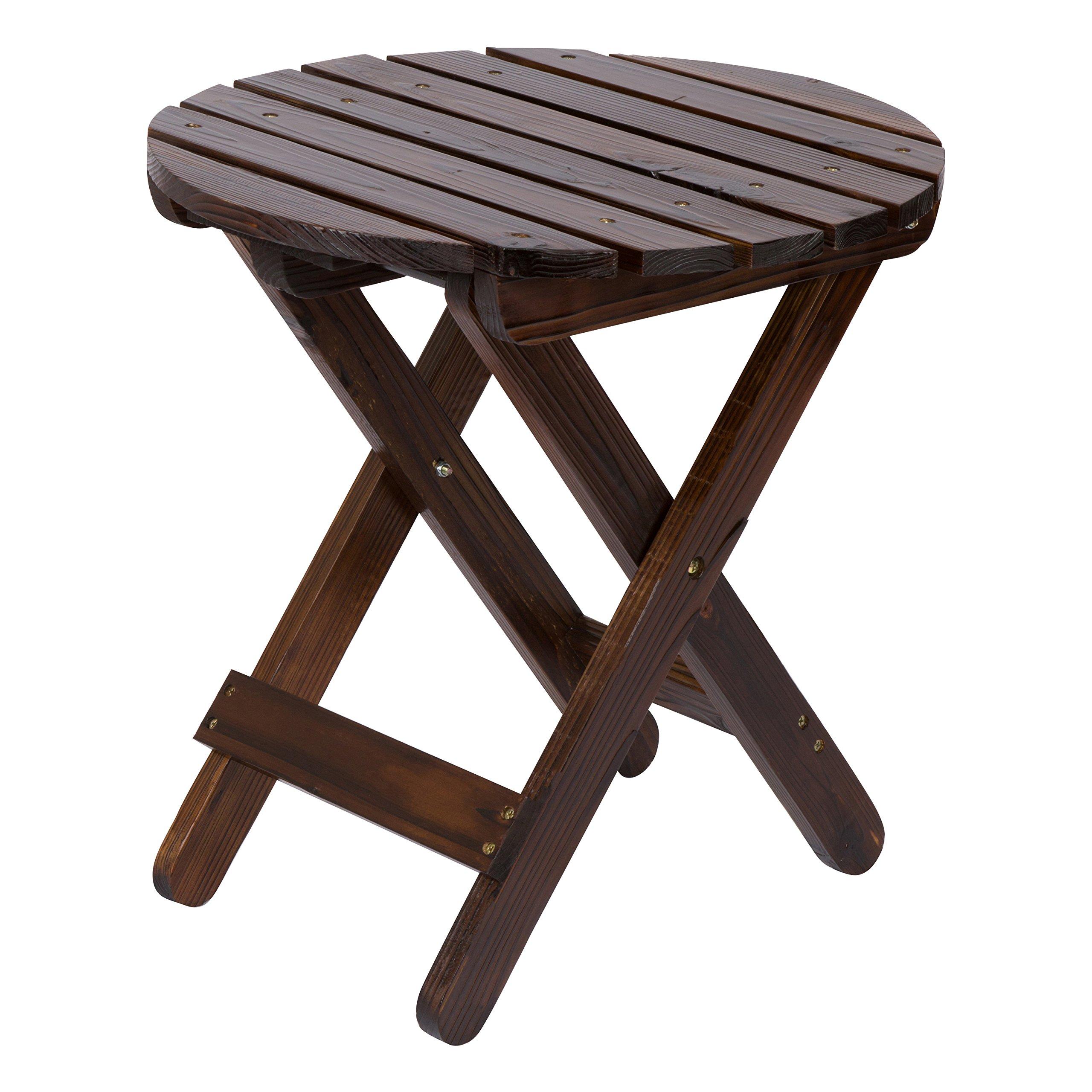 Shine Company Adirondack Round Folding Table, Burnt Brown