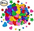 180 Pieces Glitter Foam Stickers Self Adhesive, Stars and Mini Heart Shapes Glitter Stickers for Kid's Arts Craft Supplies Greeting Cards Home Decoration