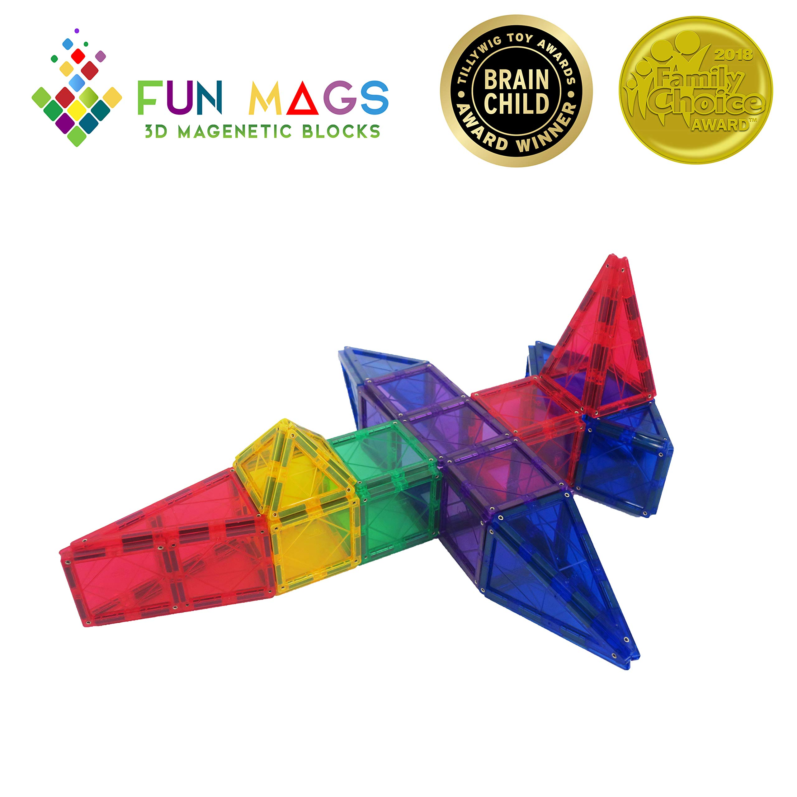 Fun Mags Magnetic Blocks 100-Piece Set 3D Magnetic Building Blocks, STEM Educational Magna Magnetic Tiles Magnet Toys for Kids, Toddlers by Lustien Toys (Image #6)