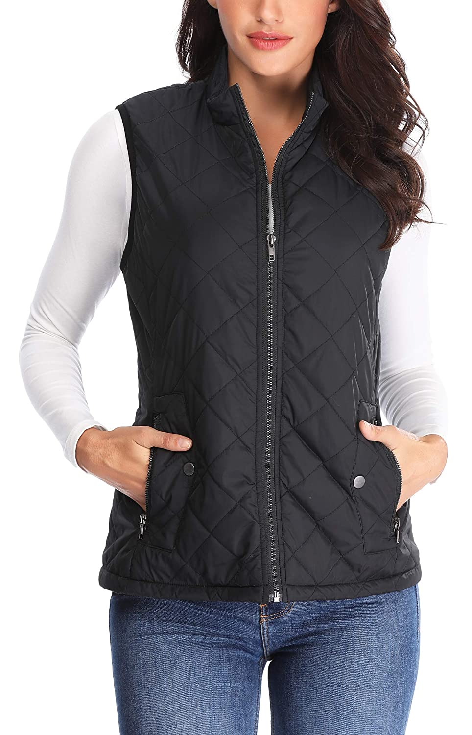 095da88bba666 MISS MOLY Women Lightweight Quilted Padded Vest Stand Collar Zip Up Front  Gilet Quilted at Amazon Women s Coats Shop