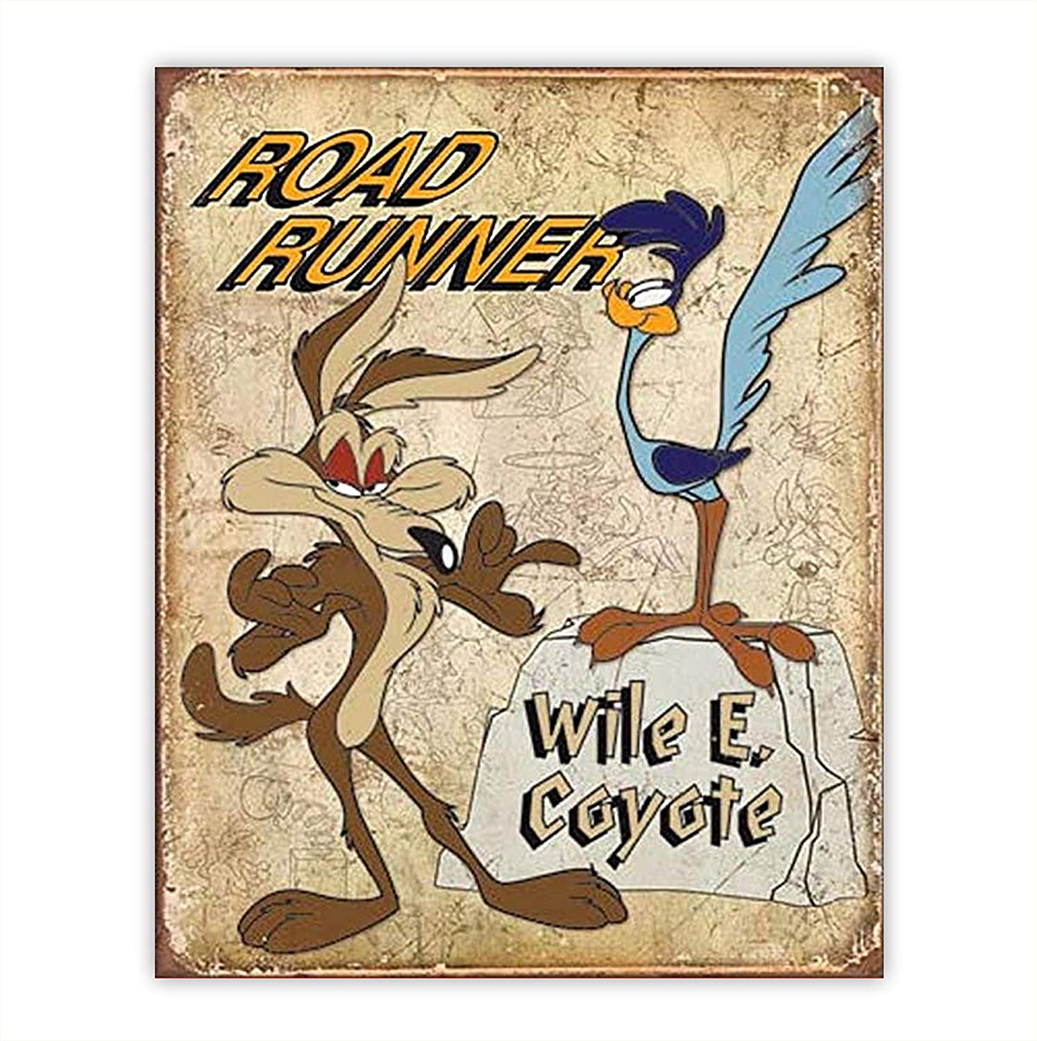 """""""Road Runner & Wile E. Coyote"""" Vintage Sign Poster Print-8 x 10""""-Wall Art Prints-Ready To Frame. Distressed Replica Print. Great Retro Cartoon Decor for Home-Dorm-Bedroom-Caves. Love the""""Meep-Meep""""."""