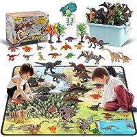 DigHealth 33 Pcs Dinosaurios Juguetes, Figura de Dinosaurios con Tapete de Juego y Arboles, Incluir T-Rex, Triceratops…