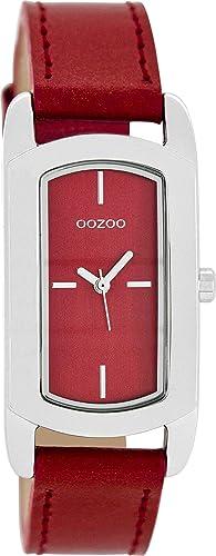 Oozoo Damenuhr mit Lederband 24 x 37 MM Rot/Rot C8377