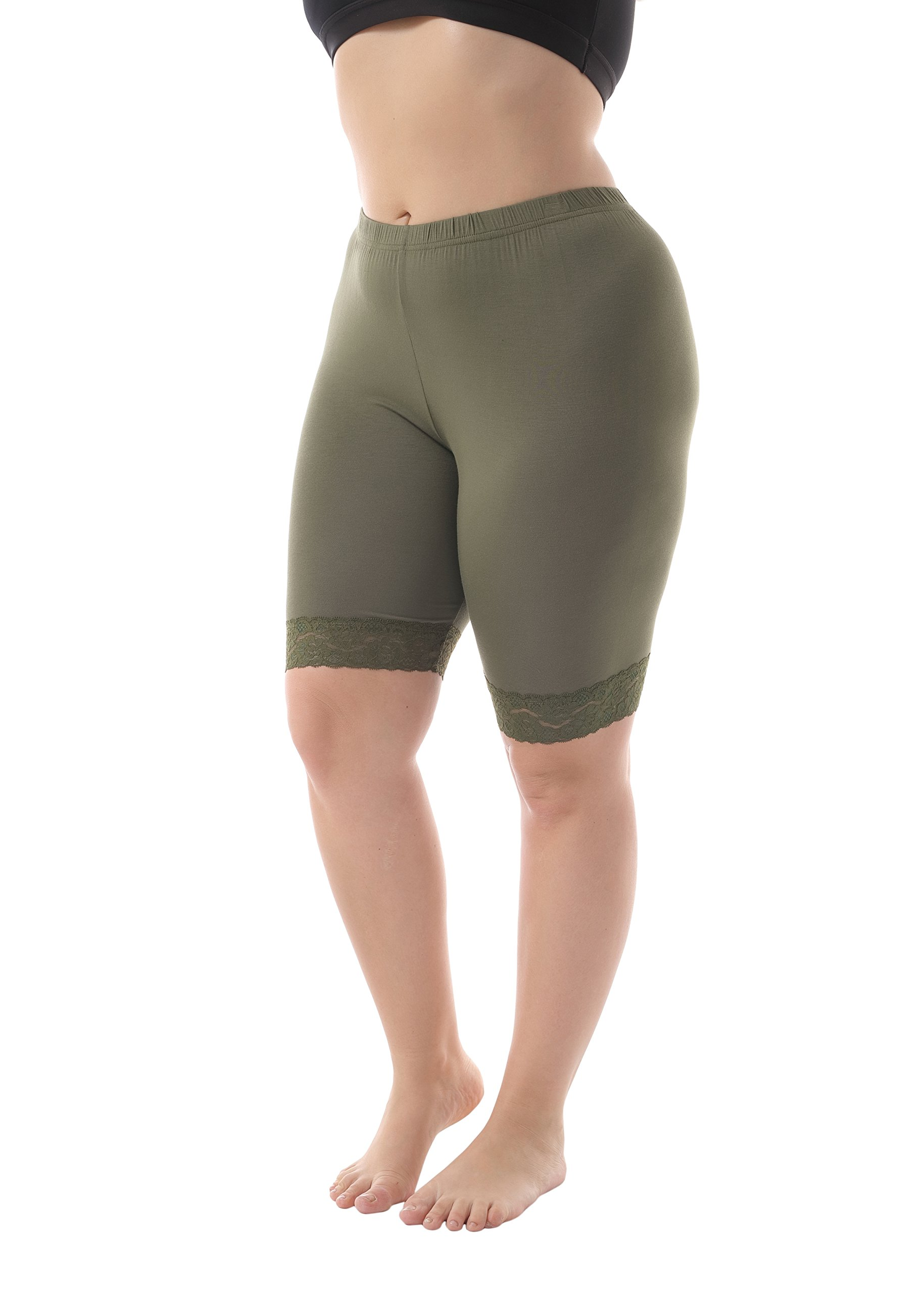 ZERDOCEAN Women's Plus Size Short Leggings with Lace Trim Army Green 2X Shorts