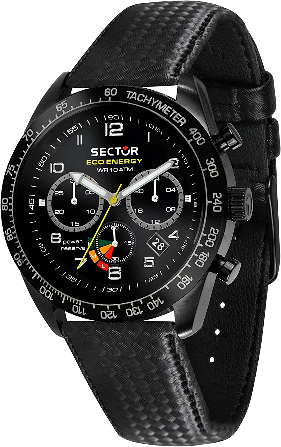 Sector No Limits Men s 695 Stainless Steel Automatic-self-Wind Sport Watch with Leather Strap, Black, 18 Model R3271613001