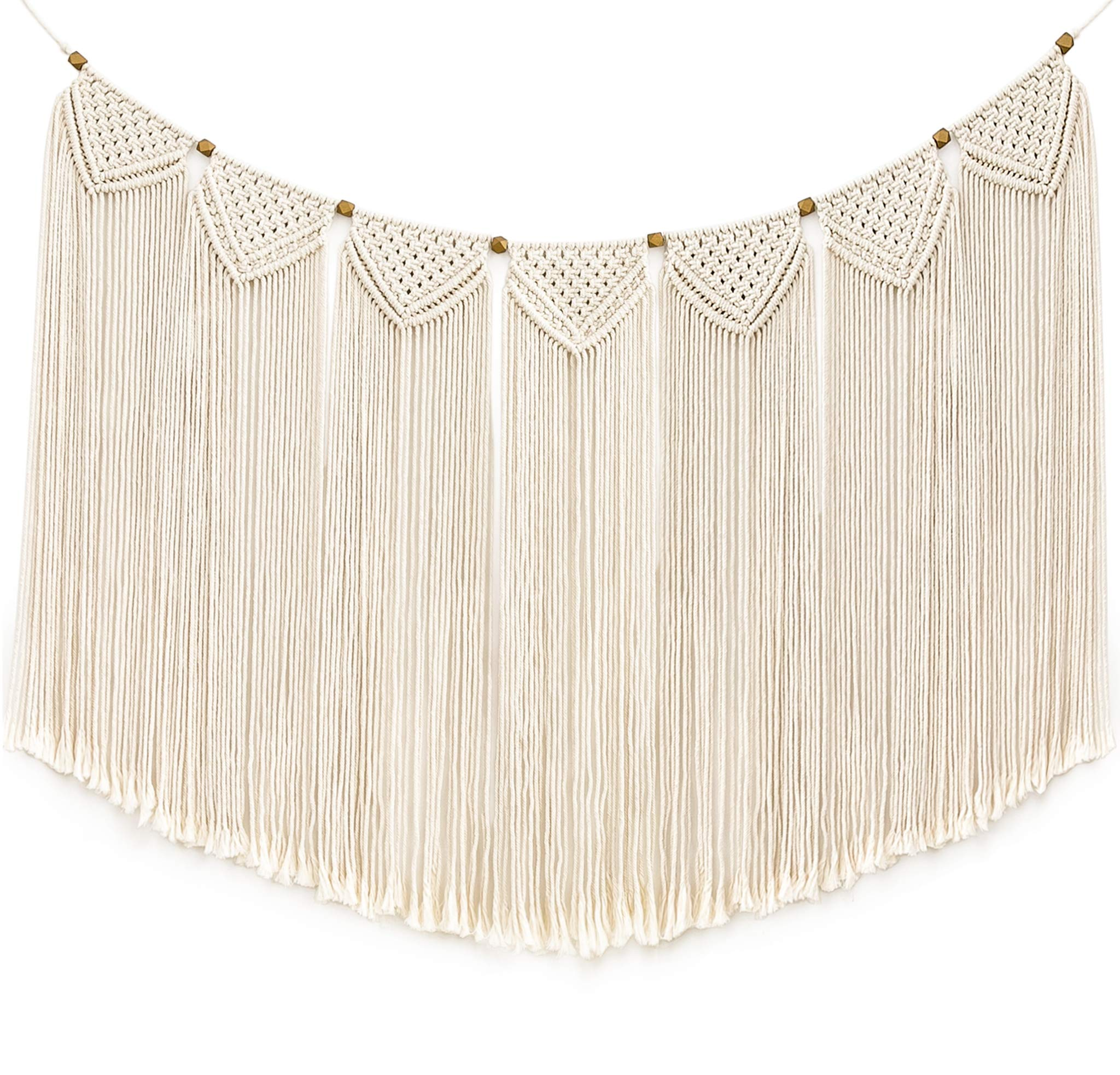 """Mkono Macrame Wall Hanging Curtain Fringe Garland Banner Bohemian Wall Decor Woven Home Decoration for Apartment Bedroom Living Room Gallery Baby Nursery, 47"""" L X 28"""" W - This large Macrame Bunting Wall Hanging will add character and charm to any wall in your house. Woven macramé hangings are incredibly versatile, and can easily transform any room into a modern, yet ethereal sanctuary. You'll adore its lovely texture and minimalistic beauty. With this macrame wall hanging you'll instantly add a bohemian vibe to your room an it will really warm up a space. Will spice up any part of your home be it your bed headboard, living room, gallery wall, windows, over an unused fireplace, above your baby's crib in a nursery or background of a wedding and party! This bohemian macrame wall hanging is carefully handcrafted with 100% cotton rope and geometric wooden beads. Gorgeous, durable and eco friendly decor, suitable for indoor use. - living-room-decor, living-room, home-decor - 819SnzrykYL -"""