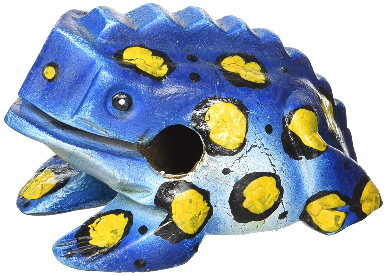 Unique Thailand 5 inch Hand Carved Wooden Frog Musical Instrument Tone Block (Blue) BLUE5