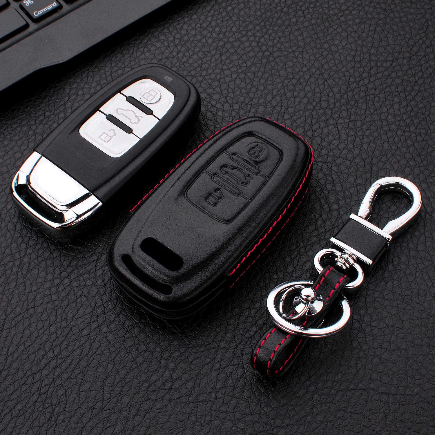 Car Remote Key Fob Case for Audi A4L A5 A6L A7 A8 S5 S6 S7 S8 RS5 RS7 Q5 SQ5 Fob Remote Key M.JVisun Soft TPU Case Cover Protector Case for Audi Smart Key Fob Metal Keychain Glossy Silver
