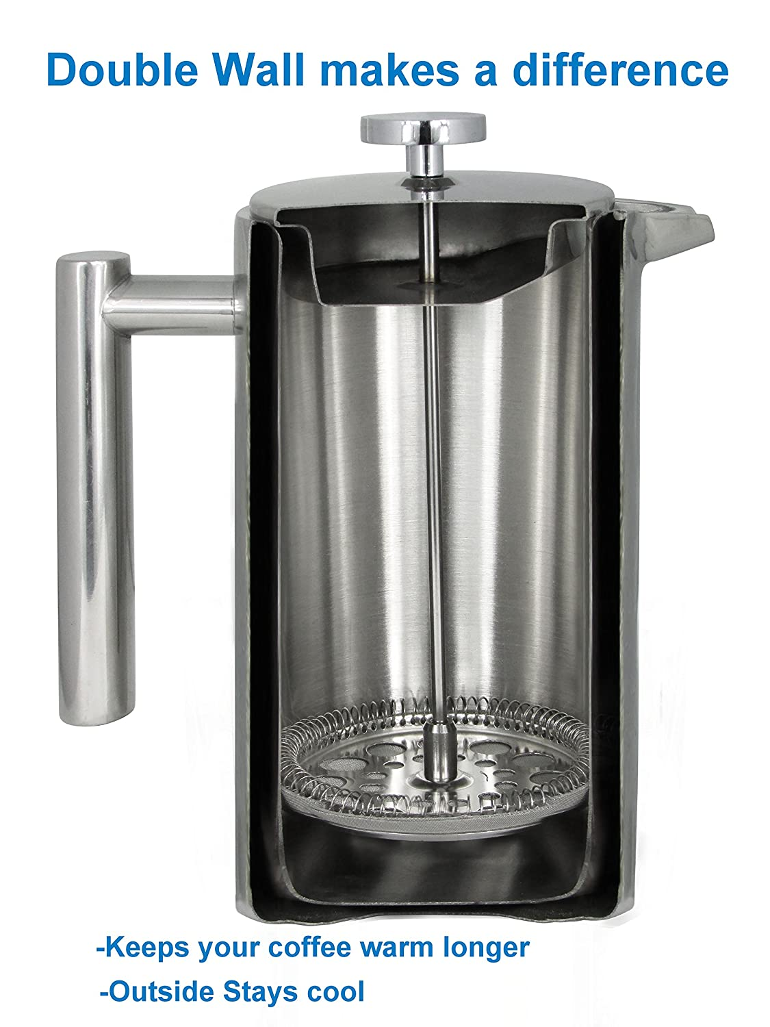 Amazon French Press Double Wall Stainless Steel Mirror Finish