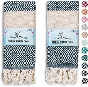 RUMI & SHAMS Turkish Hand Towel for Bathroom and Kitchen – 2 Pcs Luxurious Decorative Hand Towels for Bathroom – 100% Cotton Farmhouse Kitchen Towels – 16 x 35 Inches Kitchen Hand Towels (Denim)