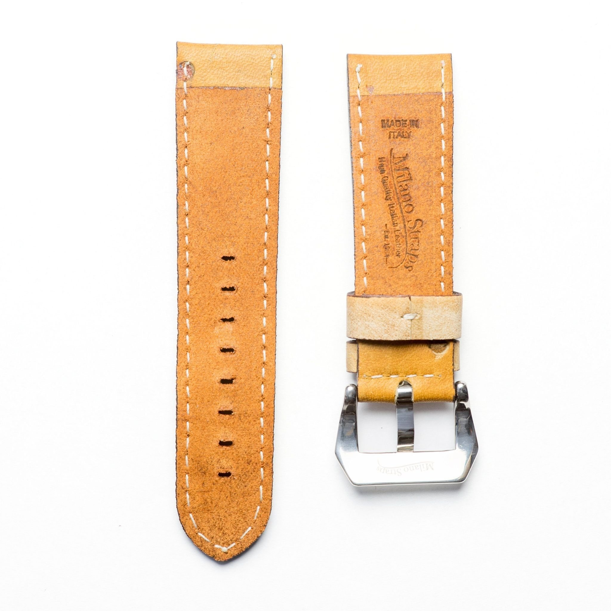 Baseball Leather Watch Strap - Limited Edition (24mm, Yellow Gold Polished) by Milano Straps (Image #3)
