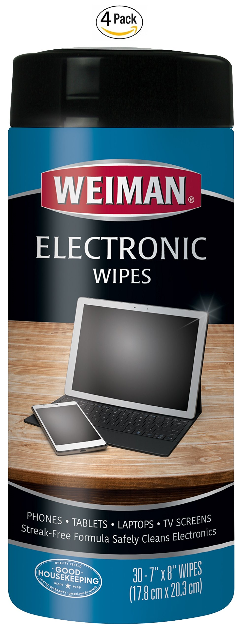 Weiman Electronic Screen Cleaner Wipes - 4 Pack - Safely Clean Your Laptop, Computer, TV, and All Electronic Equipment - Electronic Wipes - 30 Count