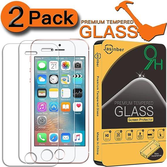 a6f8a7f5cbe Jasinber [2-Pack] Mica de Vidrio Cristal Templado para iPhone SE 5S 5C 5:  Amazon.com.mx: Electrónicos