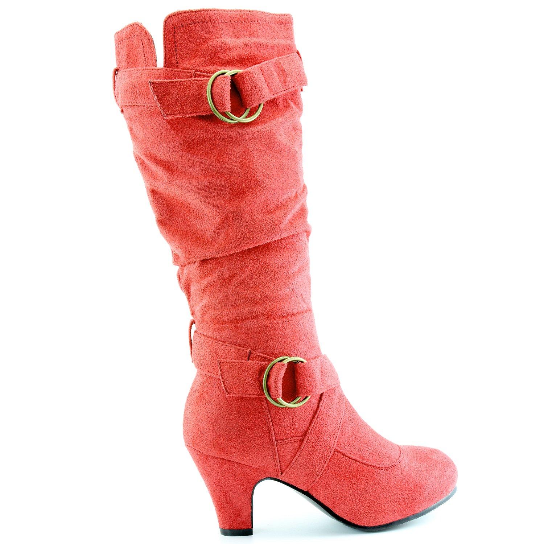 Mid Botas tacón tirantes de de 2 moda tobillo Botas y Shoe Daily mujer con de Strappy Sv Calf Red superiores de Strappy Owx5fq